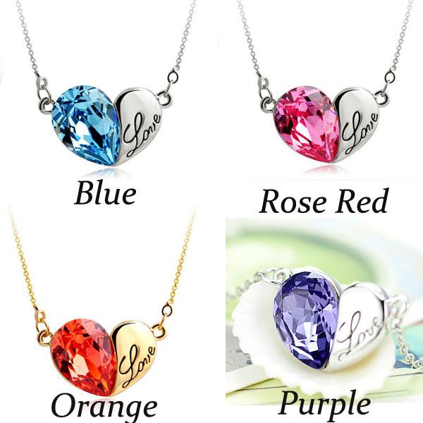 Heart Shape Love Letter Crystal Pendant Necklace