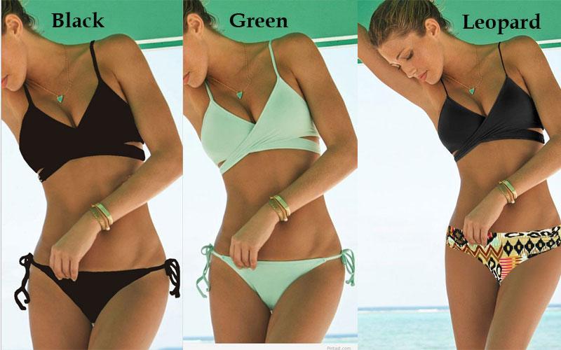 d41988fe72f New Mint Green Bandage Push-up Bikini Set Padded Bra Triangle Swimsuit
