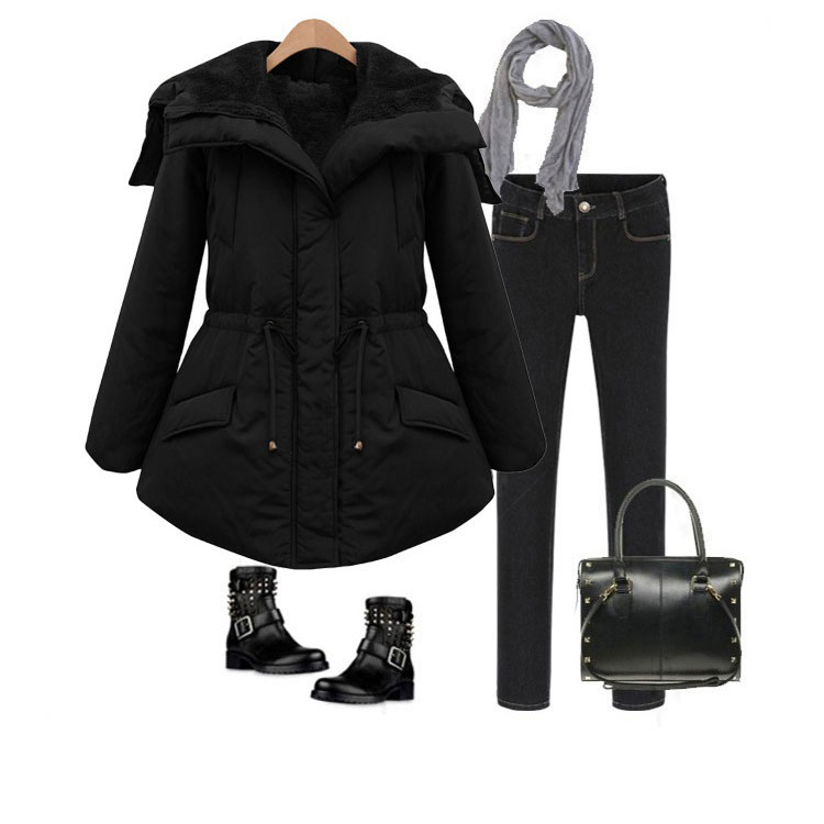 0206582c8ee Fashion Black Thickening Slim Elastic Waist Belt Parkas Down Jacket Cotton-padded  Jacket Feather Dress
