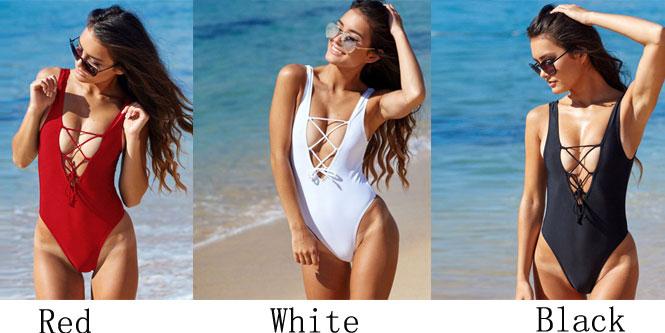 Blackless Pure Swimwear Bandage Bikini Set One-piece Bathingsuit Swimsuit