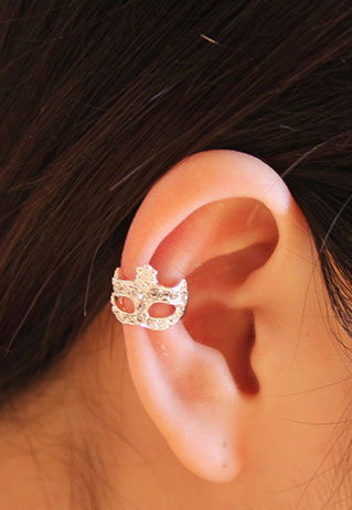 Cool Rhinestone Masque Single Earrings Clip
