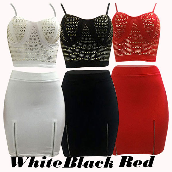 Sexy Skintight Braces Skirt Punk Bandage Tube Strapless Unique Rivets Women Dress