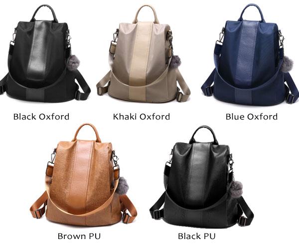 Leisure Oxford Vertical Stripe Multi-function Handbag PU Travel Bag Backpack
