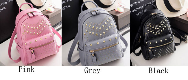 Leisure Punk Rivet Backpack School Bag PU Small Women Backpack