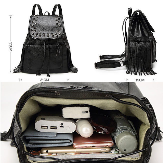 Black Rivets Waterproof PU  Women Casual College Backpack