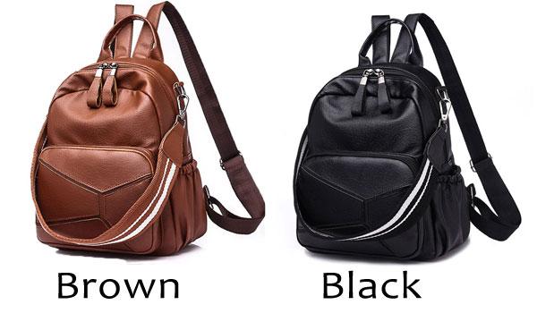 Leisure PU Large Brown Leather Multi-function Shoulder Bag School Backpack
