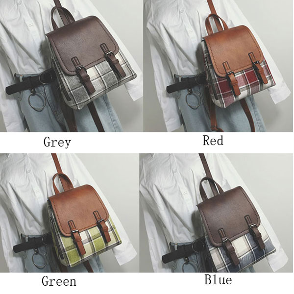 Retro Multi-function Woolen Girl's Grid Bag Contrast Color Lattice Backpack