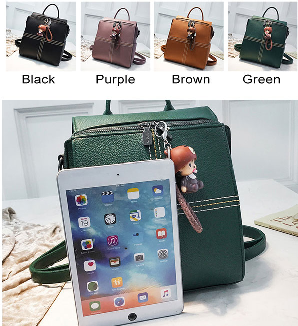 Fresh Cross Simple PU Multifunction Square Shoulder Bag School Backpack