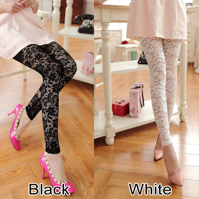 Sexy Vintage Hollow Flower Lace Carved Female Leggings