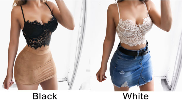 Sexy Gathers Temptation Camisoles Bras Sling Hollow Lace Intimate Lingerie