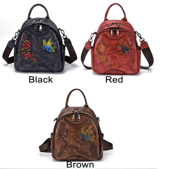 Retro 3D Butterfly Flower Leaves Leather Multi-function Original Shoulder Bag Backpack