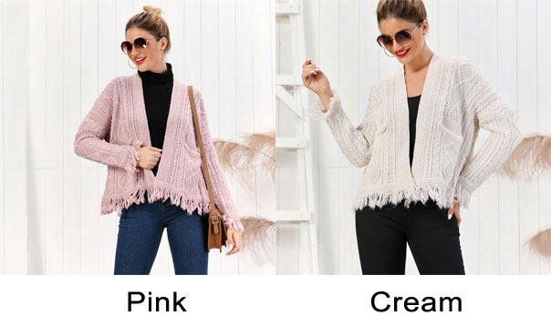 New Tassel Loose Knit Long Sleeve Twist Cardigan Women Sweater