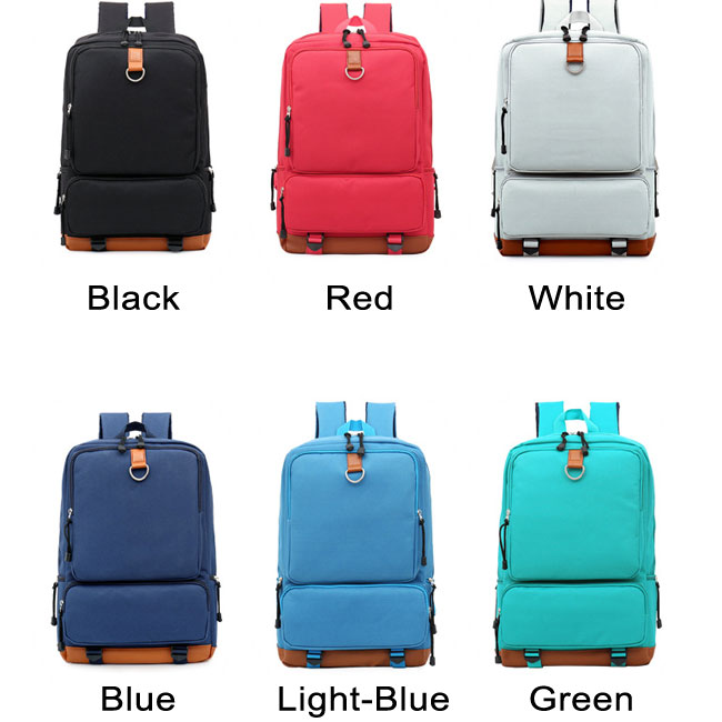Fashion Large Pocket Square Pure Color Oxford Cloth College Backpack
