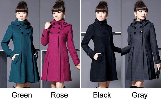 Leisure Large Slim Double Button Woolen Windbreaker Long Cloak Shawl Women Coat