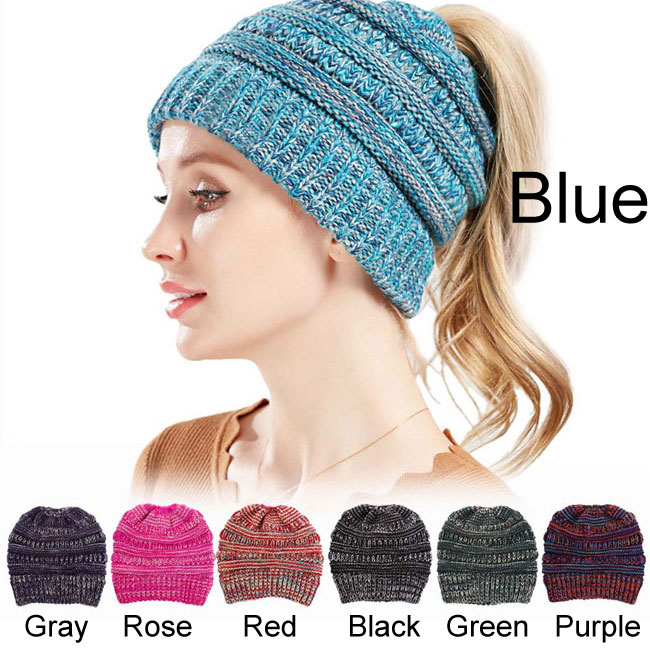 Fashion Mixed Color Knit Multi-function Hairbands Messy Bun Soft Warm Winter Women Hat
