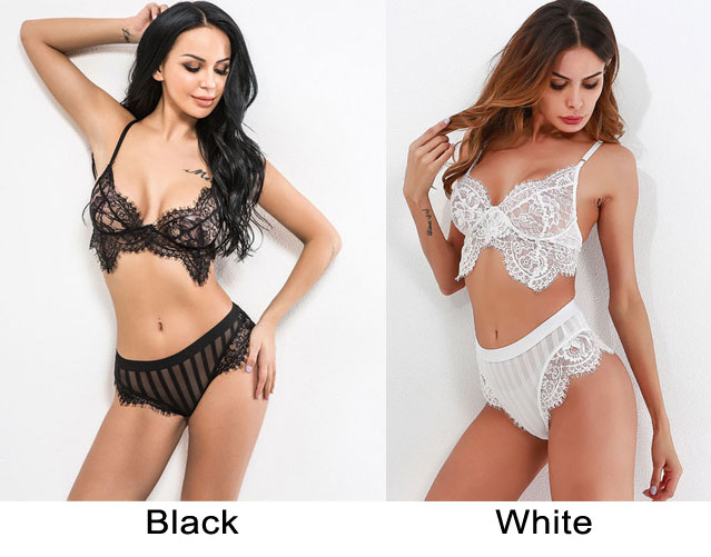 Sexy Black White Lace Hollow Bra Set Sling Women Intimate Lingerie