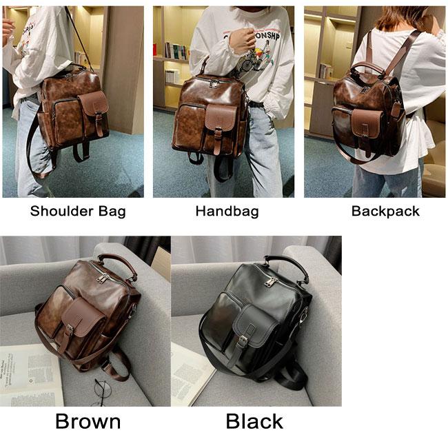 Retro Soft Leather Irregular Pocket Multi-function Shoulder Bag School Bag Backpack