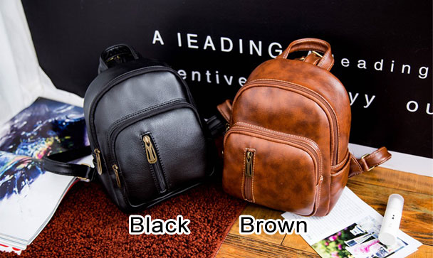 Retro Vertical Zipper Simple Leisure Lady Bag School Backpack