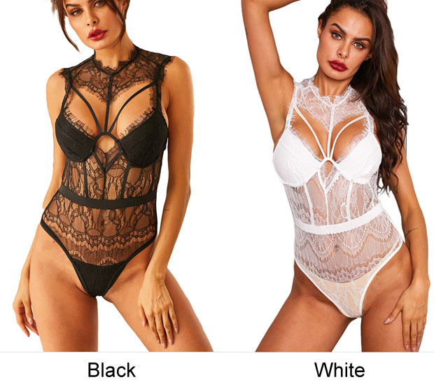 Sexy Hollow Perspective Lace Backless Conjoined Women Intimate Lingerie