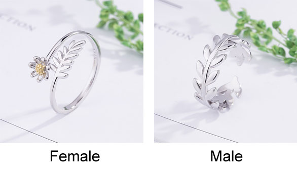 Romantic Sweet Silver Leaves Branch Feather Flower Opening Couple Rings