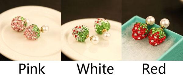 Lovely Strawberry Full Diamond Dual Wear Pearl Earrings Studs