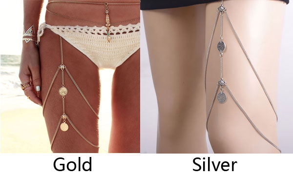 Retro Beach Harness Jewelry Stretchy 2 Tier Leg Thigh Body Alloy Chain