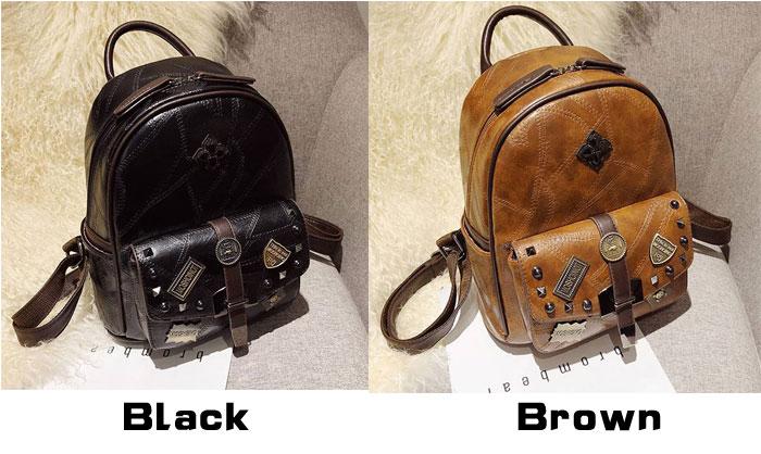 Retro British Style Student Bag Badge Rivet Single Buckle School PU Backpack