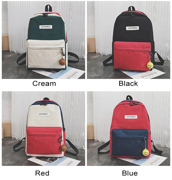 Unique High School Rucksack Student Bag Contrast Color Large Canvas Backpack