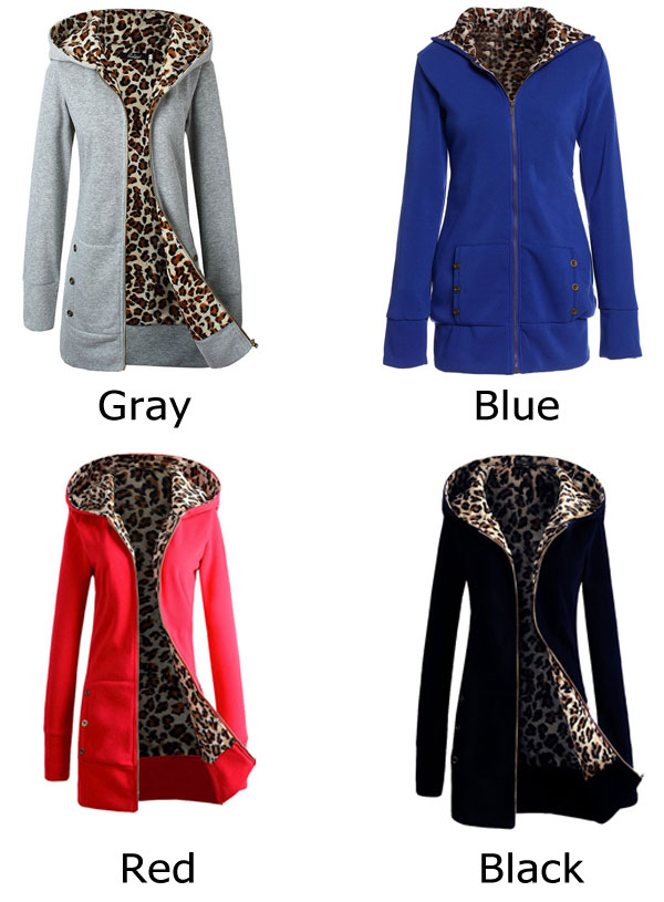 Leisure Leopard Sweatshirt Women Hooded Thicken Sweater Coat