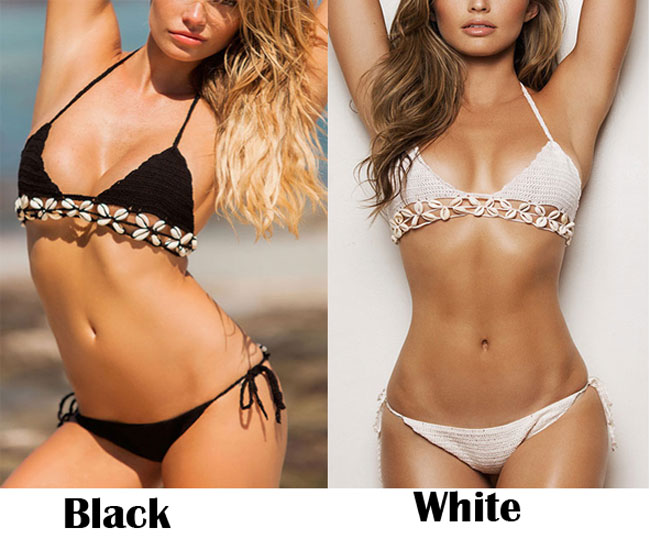 Sexy Women's Weave Shell Bikini Two Pieces Beach Sling Swimsuit