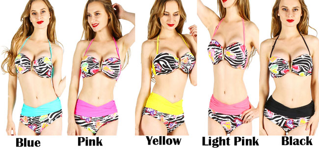 Sexy High Waist Beach Summer Flower Print Floral Bikinis Women Swimsuit