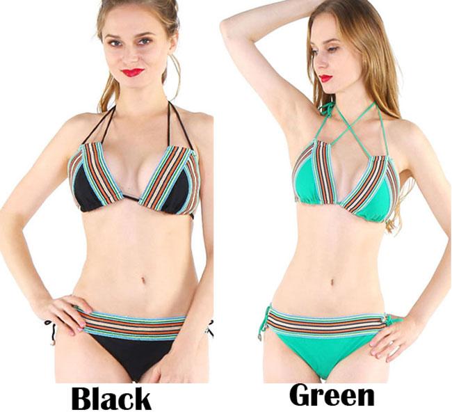 Sexy Green Folk Style Bikini Sling Swimwear