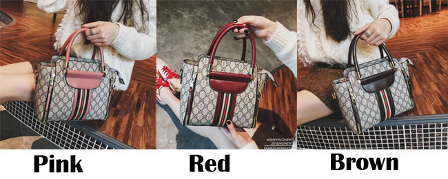 Elegant Grid Stripe Girl's PU Leather Multi-function Tote Shoulder Bag Handbag