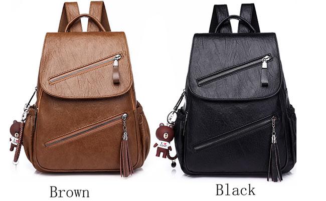 Retro British Style Tassel School Lady Leisure Double Oblique Zipper PU Backpack