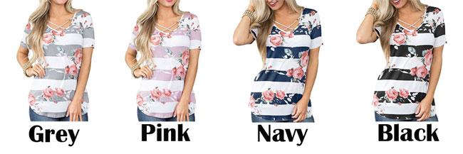 Fashion Cross V Neck Flower Print Casual Women's Summer T-Shirt
