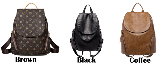 Simple Black Brown Soft Leather PU Large Travel Multi-function Backpack