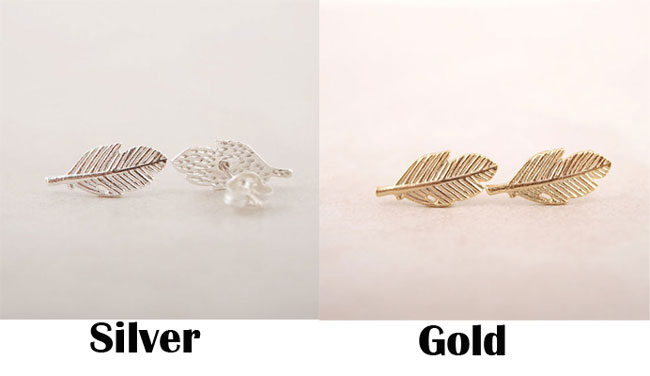 Unique Feather Shape Leaves Earrings Alloy Plating Earrings Studs