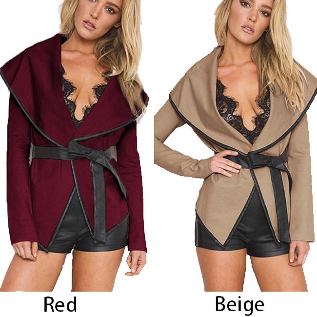 Fashion Sexy Woolen Open Jacket With Belt Women Coat