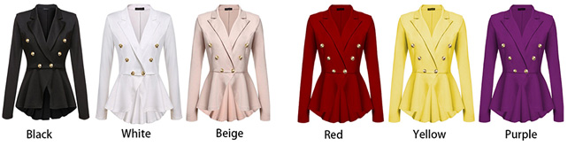 Elegant Double Row Metal Buckle Long Sleeve Small Blazer Women's Coat