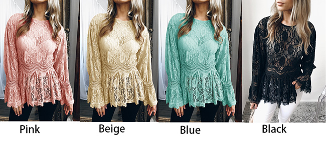 Sexy Lace Casual Women's Long Sleeve Hollow Tops Shirts