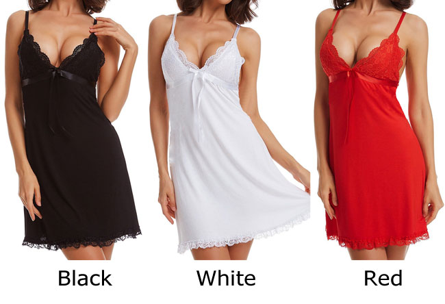 Sexy Bow Lace Dress Sling Pajamas Women Lingerie