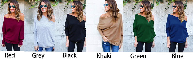 Sexy Off Shoulder Bat Long Sleeve Women's Coat Sweater