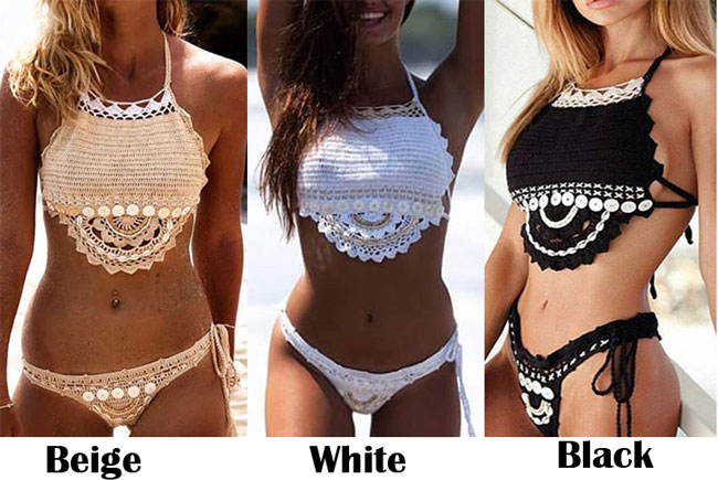 Sexy Two Pieces Backless Summer Weave Swimsuit Women's Shell Bikini
