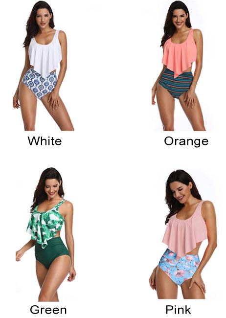 Sexy Banana Leaves Swimsuit Ruffle High Waist Summer Bikinis