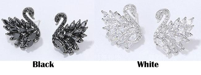 Shining Black White Swans Animal Zircon Earrings Studs