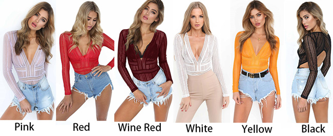 Sexy Women's Lace Deep V Neck Shirts Tops
