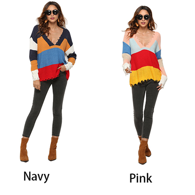 Sexy Women Contrast Color Stripe Deep V-neck Sweater