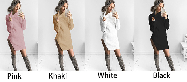 Sexy Long Sleeve Winter Split High Collar Women's Sweater Dress Skirt