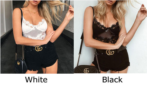 Sexy Flower Conjoined Sling Women Tops Lace Perspective Intimate Lingerie