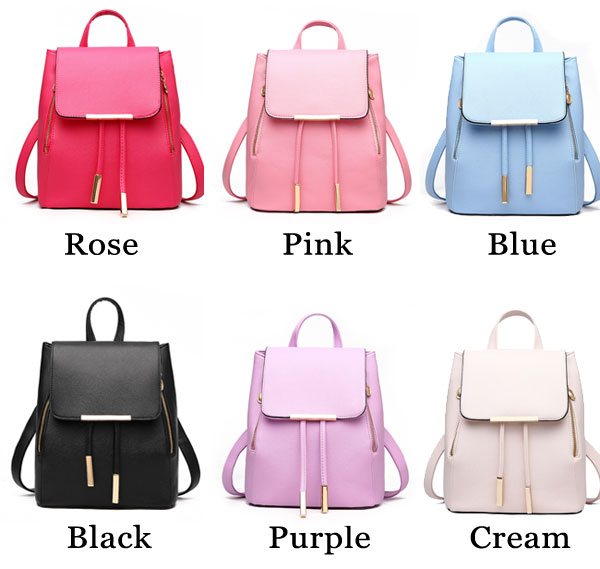 Elegant Pink Funky Lady Solid Simple Square PU Drawstring Hasp Satchel Backpack